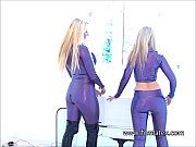 lesbian latex fetish babes intimate shiny rubber playing.