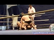 lesbian babe wrestling in a boxing.