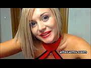sexy blonde fucks herself on webcam
