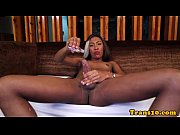 skinny ebony tgirl strokes her cock