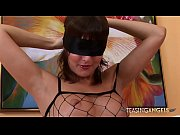 Blindfolded hottie will tease you with a banana and her fishnet outfit