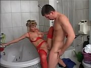 german housewife drains balls in the.
