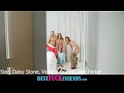 Three teen bffs Daisy Stone Victoria Gracen and Zoe Parker share a lucky guy at their pajama party