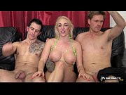 hot blonde gangbanged in her living.