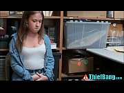 nervous teen thief brooke bliss bangs security guard.