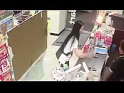 girl pissing in mart and drinking.