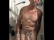 mick  having a shower