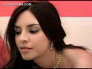 Gorgeous latina hottie enjoying a glass dildo