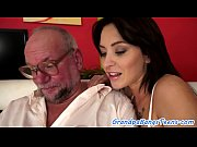 Teen babe enjoys riding grandpas cock