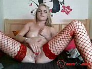 beautiful girl in red stockings brings her pussy.