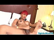 Busty black redhead tranny jacking off solo