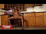 attractive black tranny strokes her cock