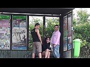 Very cute busty brunette girl public gang bang threesome with 2 guys
