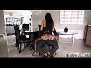 Dick addicted ladyboy gives mouth and butt for hardcore fuck