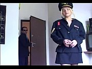 blonde in uniform fucking in black.
