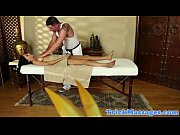 Busty massage client giving masseur a HJ