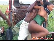 enchained african babe gets abused by two horny.