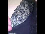 Cumming over wife&#039_s black lace panties