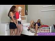Two cute teens pleasuring pussies with busty mom on the bed