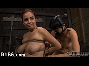 Tied up villein receives lusty pleasuring her nasty twat