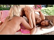 Gorgeous lesbo pussy fucked with two fingers outdoor