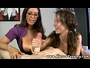 hot milf handjob mature in trio.