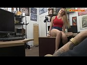 Short blond hair babe nailed by pawn man