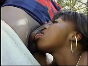 Amazing young black girl groped and fucked doggystyle in a park!
