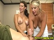 handjob mature doc and milf jerking.