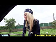 European teen stewardess banged in uniform
