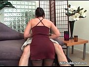 Horny brunette sucking cock and gets
