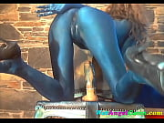 Blue Skinned Girl Rides 8 Inch Dildo