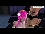 Sexy pink haired 3D cartoon honey sucking on a dildo
