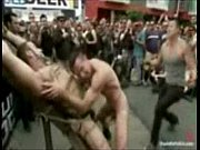 Sick crowd playing with tied up boy Thumbnail