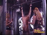 Two ravishing blonde bints whip a horny stallion in the dungeon