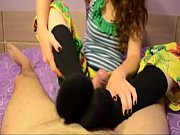 brunette gives footjob with cumsho. ines.