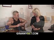 He doggy-fucks blonde old woman