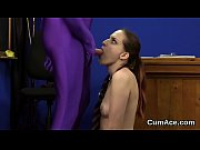 sexy hottie gets jizz load on her face.