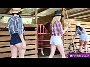 hot farm babes awesome threesome outdoor.