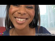 Hot Ebony babe sucks on a big white cock Thumbnail