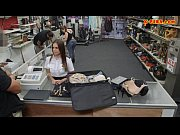 Sexy amateur Latina stewardess railed at the pawnshop