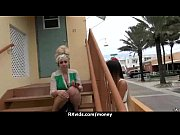 Slutty amateur babe is paid cash from some crazy public sex 9