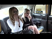 Three sluts pissing in fake taxi
