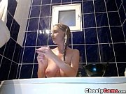 hot teen take a shower and plays with.
