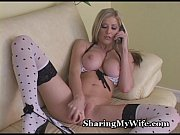 Awesome Blonde Bombshell Stretches Pussy