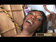 Ebony cutie gets a bunch of hard white cocks 27