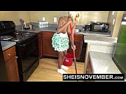 Sheisnovember Topless Mopping In Kitchen &amp_ Upskirt Ebony Ass &amp_ Big Natural Tits