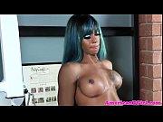 Ebony blue hair tgirl jerks cock after workout Thumbnail