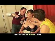 big tits granny swallows two young.