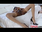 Lusty ebony shemale masturbates her dick